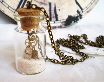 Time in a Bottle - Upcycled watch parts with sand in a glass vial - Steampunk, industrial, Boho Chic, clock gears,time travel, long,layering