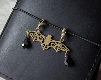 Filigree Bat Planner Charm   Planner Accessory   Keychain   Zipper Pull   Travelers Notebook   Purse Charm   Journal Charm