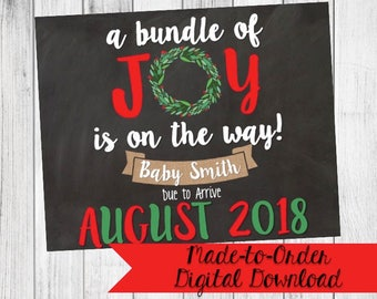 Christmas Pregnancy Announcement Sign Bundle of Joy {Digital Download}