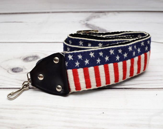 Featured listing image: Vintage Woven Camera Strap USA Theme Stars and Stripes