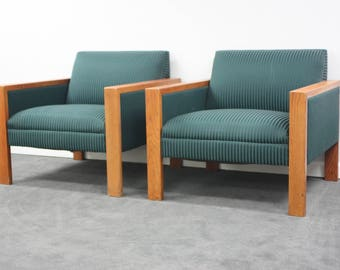 Pair of Vintage Cube Chairs with Wood Arms Mid Century Modern Style