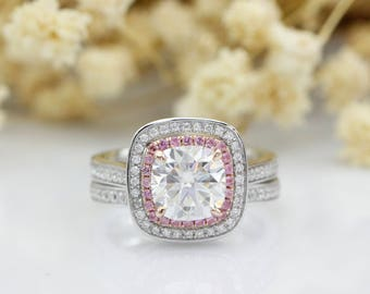 Cushion Cut 2ct Esdomera Moissanites Double Halo Pink Pave Set Accents 14k Two Tone Gold Bridal Set (CFR0842WS-MS2CT)