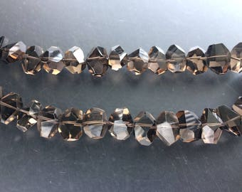Full Strand Smoky Quartz Faceted Nugget Beads