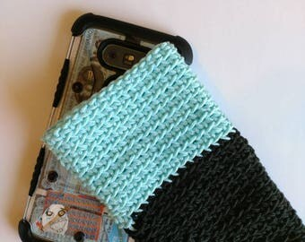 Mobile phone case blue black phone case crochet nautical phone Accessories ready to ship gift for teens organization ideas