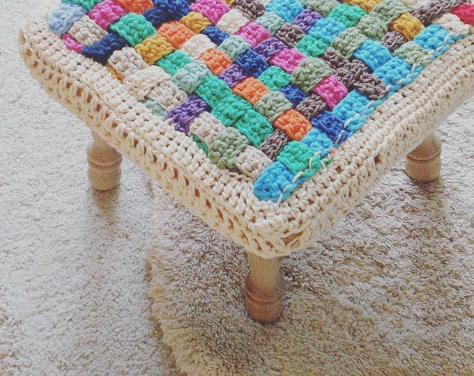 Featured listing image: Ready to ship checkered Crochet Square stool cover, home decor, Kids Baby room decor, nursery, seat cover