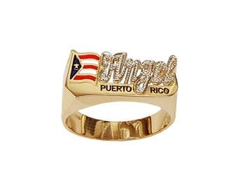 Lee170M-10K 10mm Size 10K Gold Pave-cut Finished National Flag Name Ring