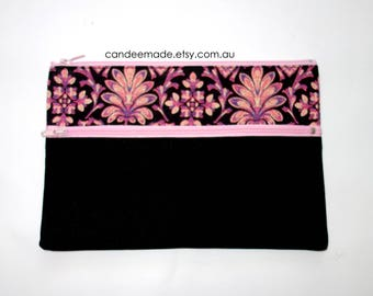 Beautiful Pink pattern and black Pencil case/ Makeup Bag 21.5cm x 14.5cm With Two Pockets and  light Pink Zippers,