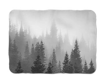 Tree Sherpa Blanket, Pine Tree Throw, Tree Fleece Blanket, Picture Blanket, Chair Throws, Gray Bed Throw, Soft Throw Blanket