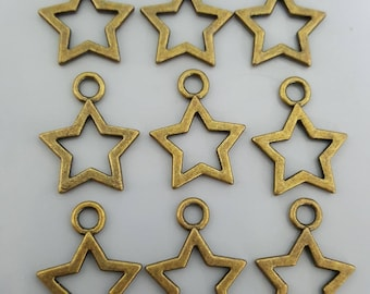 Star Charms, Antique Brass, 20x16mm - 10 Pieces