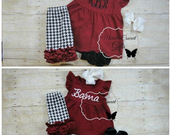 Alabama Short Set, Bama Outfit, Birthday Outfit, Shorties Set, Houndstooth,  Crimson, 9M, 12M, 18M, 2T, 3T, 4, 5, 6, 7, 8, RTS, Monogram