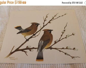 """Christmas in July 1978 Sherm Pehrson 8"""" x 10"""" Bird Lithograph - Cedar Waxwings on Willow Branch"""