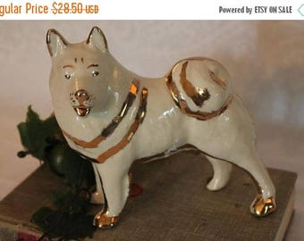 SALE Vintage LePere Pottery Husky Dog Figurine - Zanesville, Ohio, Great Condition!
