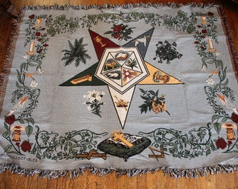Order of Eastern Star OES Large Tapestry Style Throw Blanket made by BMJ Collectibles