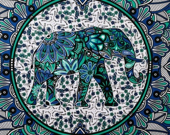 """Indian Mandala Wall Tapestry Bed Sheet Table Cover Elephants 90"""" x 84"""""""