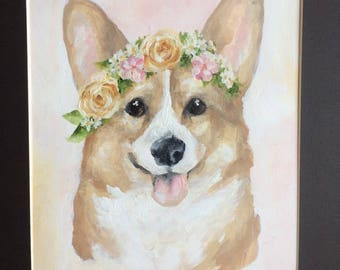 CUSTOM Pet Portrait (Flower Crown Style)