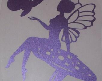 transfer in purple glitter flex fairy on mushroom