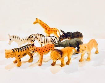 Vintage Plastic Zoo Animals, Miniature Plastic Toys,  9 Animals, Collectible Miniatures, Giraffe Lion, Zebra Lynx Rhino,  Republic of China