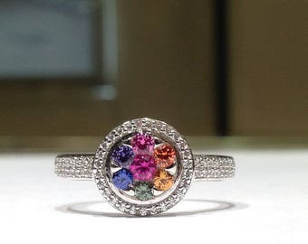 1.50 Carat Rainbow Sapphire Halo Style Ring in 925 Sterling Silver
