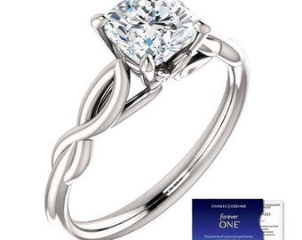 1.10 Carat (6mm) Moissanite Forever One Solitaire Engagement Ring (with Charles & Colvard authenticity card)