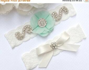 ON SALE Mint Wedding Garter, Light Green Garter, Wedding Garter Set, Mint Garter, Bridal Garter Set, Lace Garter, Mint Garter Belt, Crystal