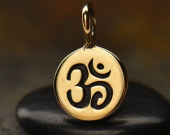 Bronze or Sterling Silver Om Charm. Tiny Ohm Charm. Round Om Pendant.