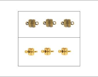 3 pcs Flat Magnetic Clasps, antique bronze or shiny gold finish, jewellery clasps, jewellery making, making jewellery, UK seller