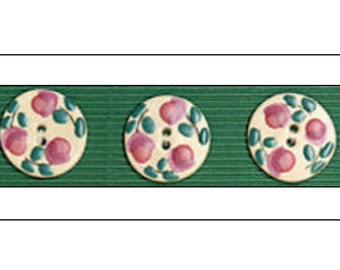 """3 Pink Floral Round Buttons, 1.25"""", Handmade, Fair Trade, Ceramic Buttons, handmade buttons, Incomparable Buttons, knitting, sewing, craft"""