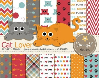 50% OFF Cat Digital papers and Clipart Set, Cat head, Kitten, Pet Digital Paper, Yarn, Paws Scrapbooking Papers, Fishbone, Animal Digital Pa
