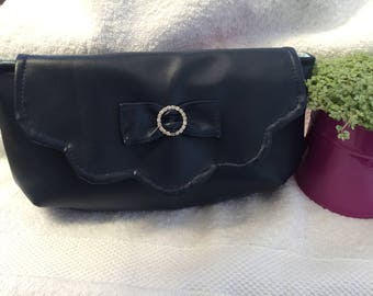 Navy Clutch Bag Faux Leather