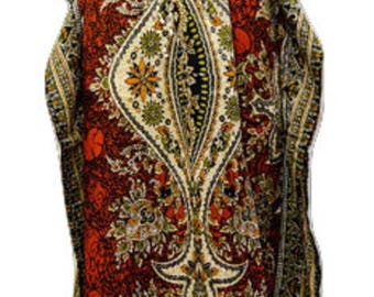 Plus Size Abstract Paisley Floral Summer Detail Drawstring Batwing Sleeve Kaftan Red