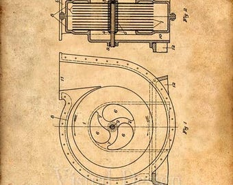 Tesla Turbine Patent Print - Tesla Wall Art - Tesla Print - Tesla Patent - Tesla Poster