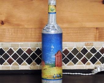 Cabanas on a beach - beach scene - sailboats - wine bottle light - tissue paper collage -