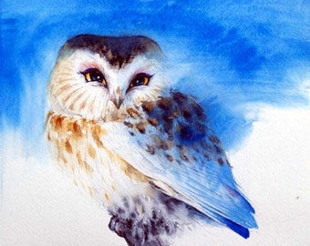 Blue Owl Wall Art Saw Whet Owl Watercolor Original Artwork Animal Painting Watercolor Bird Blue Wall Art