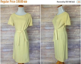 ON SALE 1950s Yellow Dress with ribbon | 1950s wiggle dress | Vintage Fall Dress | 50s wiggle dress| sold as is