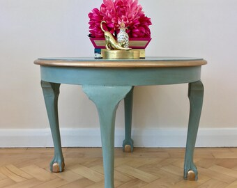 Round Coffee Table in Duck Egg Blue and Gold, Round Coffee Table, Blue Coffee Table, Blue Side Table, Handpainted Table, Lounge Table