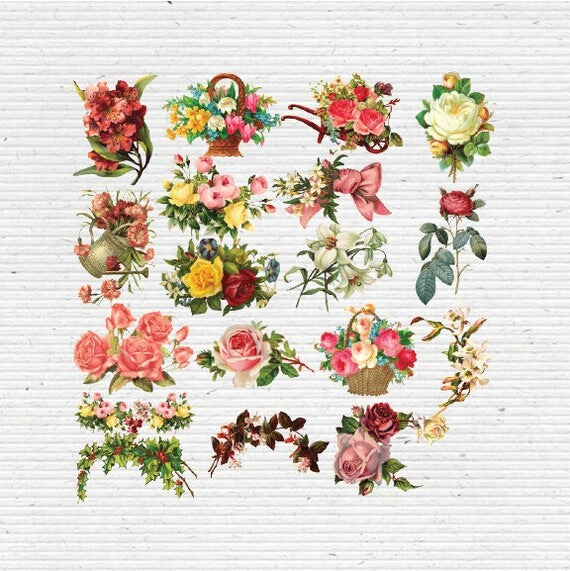 Vintage Flowers Cliparts Images In PNG Transparent Background Digital Graphics For Scrapbooking Cardmaking And Party Printables From ConceptitudeStore On
