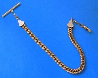 Gold Filled Watch Chain with Pencil T-Bar Heavy 53 Grams Curb Chain Victorian