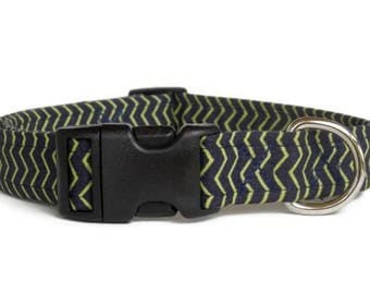 SALE! Navy Blue and Lime Green Chevron Striped Dog Collar (Buckle)