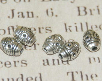 5 olives beads engraved silver metal 7, 5x6mm