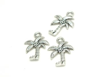 3 charms Palm / coconut silver-plated 22x16mm