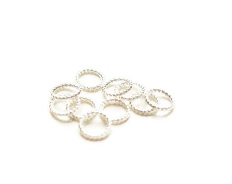 shiny silver metal twisted 10 rings 8mm
