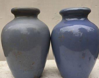 2 Scottish Antique Powder Blue Stoneware Ronuk Pots 1880's