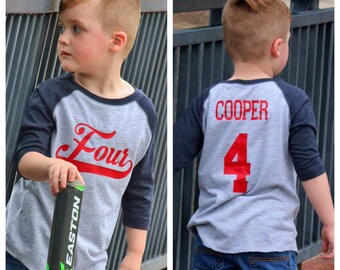4th birthday Baseball birthday shirt, boys birthday shirt,  baseball t-shirt, baseball birthday party, baseball party, baseball shirt