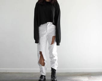 """80s White """"Cut It Out"""" Jeans / High Waisted Raw Hem White Denim / 28 x 29"""