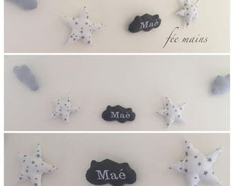 Garland of stars and clouds in white, grey and white cotton with grey stars with the child's name