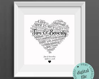 45th ANNIVERSARY GIFT - Word Art - Printable Gift - Gift for Husband - 45th Wedding Anniversary - Sapphire Anniversary - Gift for Wife