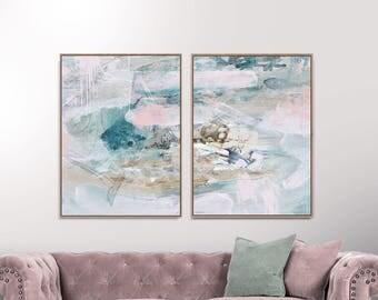 Set of 2 Prints, Abstract Art Prints, Large Wall Art, 30x40 Print, Printable Abstract Art, Gold and Pink, instant download Art, Pink Art set