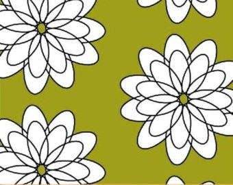 Delight by French Bull Windham W Fabrics Green and Black Spiral Flower Print