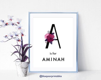 Aminah Floral Lettering Floral Greeting Card Printable Wall Art Kids Printables Custom Name Art Hand Lettering Personalized Stationary