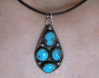 925 Silver Pendant turquoise Indian jewelry true vintage of 70s 80s 90s ethno necklace Sterling